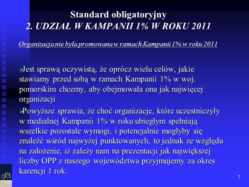 7 Standard obligatoryjny 2. UDZIAŁ W KAMPANII 1% W ROKU 2011 Organizacja nie była promowana w ramach Kampanii 1% w roku 2011 Jest sprawą oczywistą, że