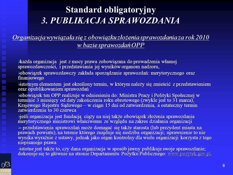 8 Standard obligatoryjny 3. PUBLIKACJA SPRAWOZDANIA Organizacja wywiązała się z obowiązku złożenia sprawozdania za rok 2010 w bazie sprawozdań OPP każ