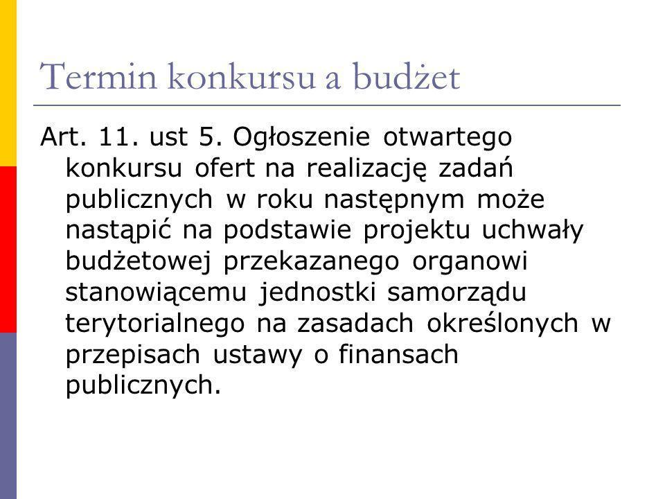 Termin konkursu a budżet Art. 11. ust 5. Ogłoszenie otwartego konkursu ofert na realizację zadań publicznych w roku następnym może nastąpić na podstaw