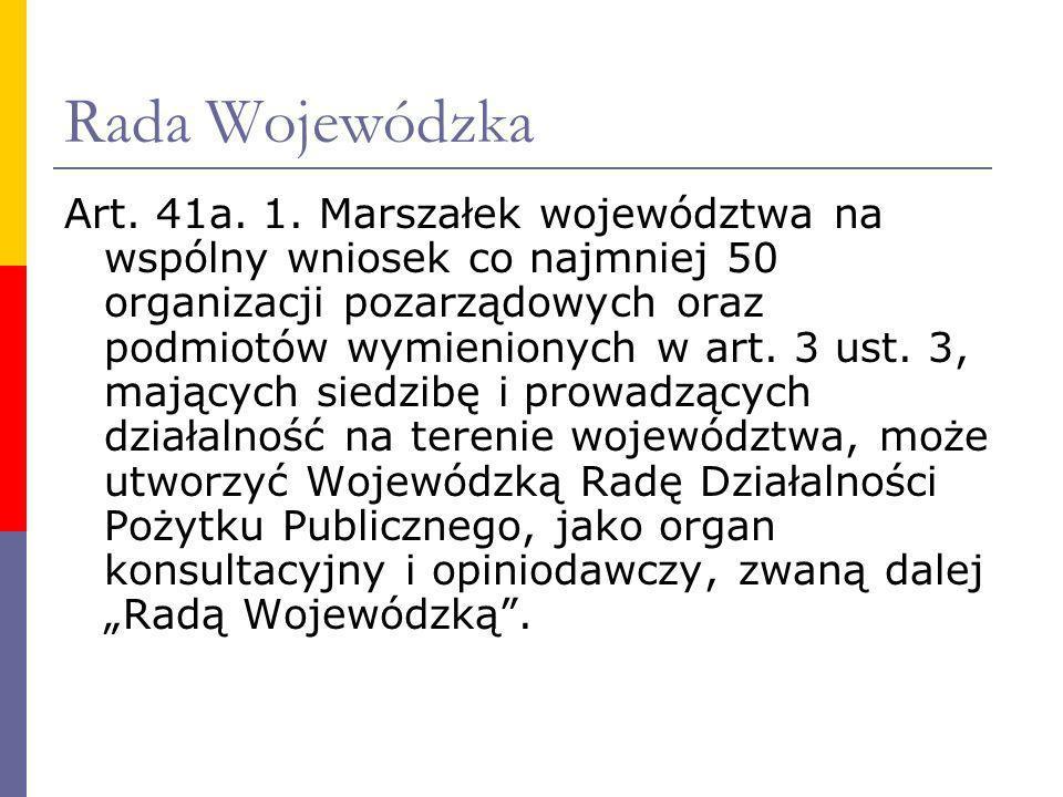 Rada Wojewódzka Art. 41a. 1. Marszałek województwa na wspólny wniosek co najmniej 50 organizacji pozarządowych oraz podmiotów wymienionych w art. 3 us