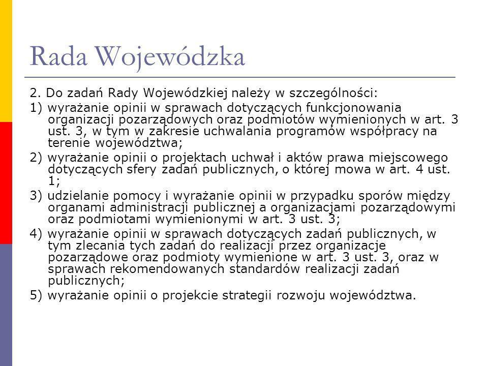 Rada Wojewódzka 2. Do zadań Rady Wojewódzkiej należy w szczególności: 1) wyrażanie opinii w sprawach dotyczących funkcjonowania organizacji pozarządow