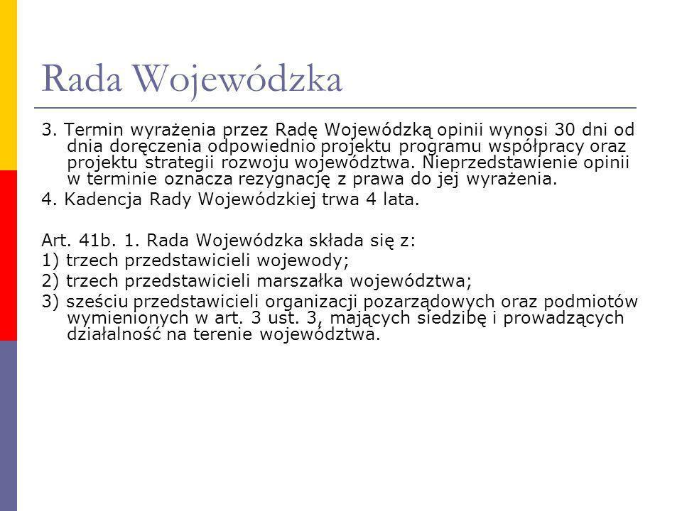Rada Wojewódzka 3. Termin wyrażenia przez Radę Wojewódzką opinii wynosi 30 dni od dnia doręczenia odpowiednio projektu programu współpracy oraz projek