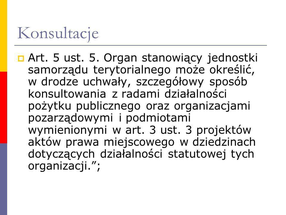 Konsultacje Art. 5 ust. 5. Organ stanowiący jednostki samorządu terytorialnego może określić, w drodze uchwały, szczegółowy sposób konsultowania z rad
