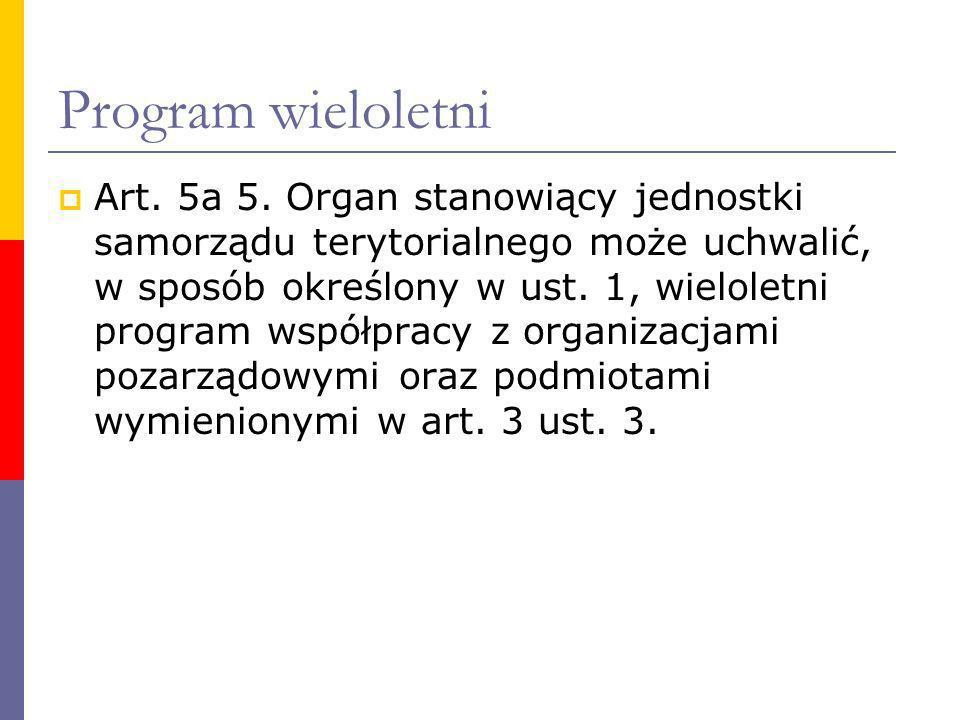 Program wieloletni Art. 5a 5. Organ stanowiący jednostki samorządu terytorialnego może uchwalić, w sposób określony w ust. 1, wieloletni program współ