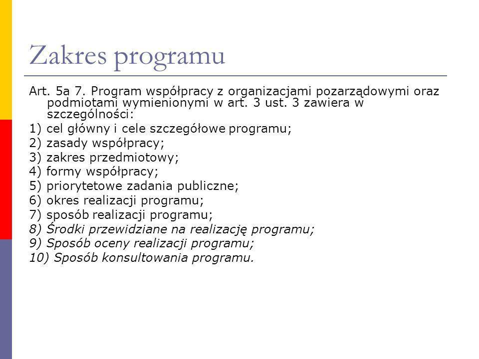 Zakres programu Art. 5a 7. Program współpracy z organizacjami pozarządowymi oraz podmiotami wymienionymi w art. 3 ust. 3 zawiera w szczególności: 1) c
