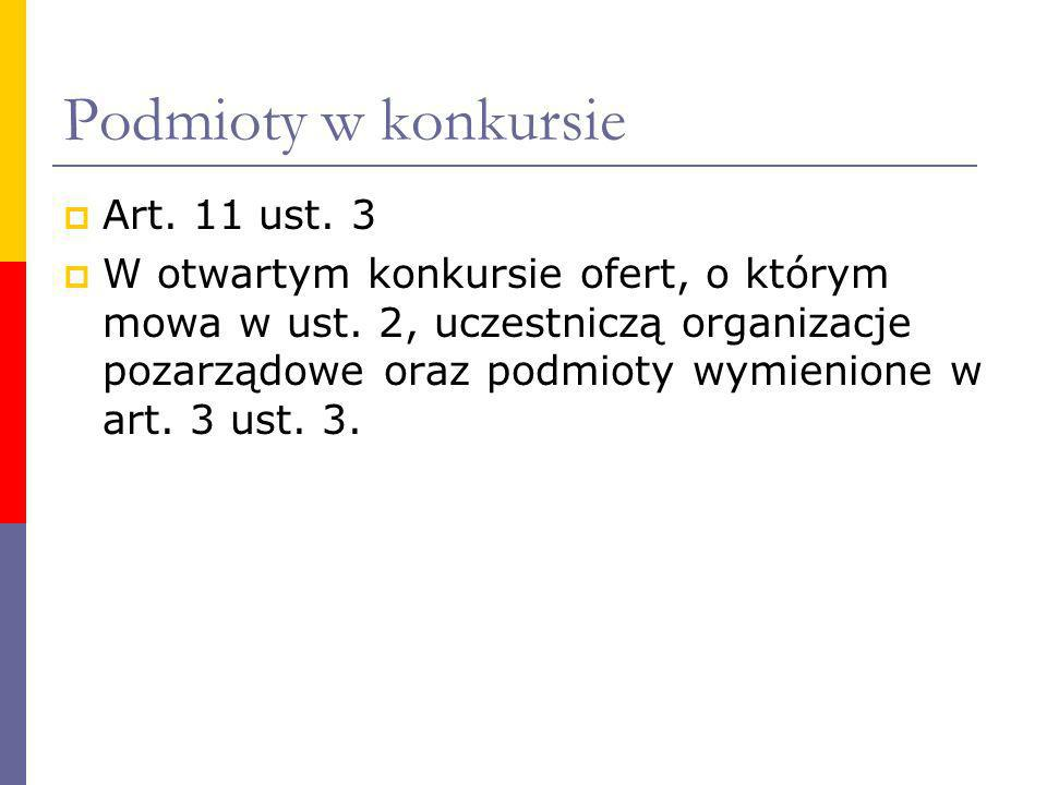 Podmioty w konkursie Art. 11 ust. 3 W otwartym konkursie ofert, o którym mowa w ust. 2, uczestniczą organizacje pozarządowe oraz podmioty wymienione w