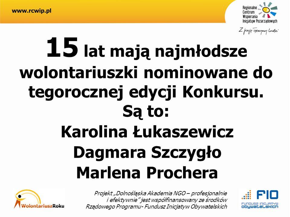 Projekt Dolnośląska Akademia NGO – profesjonalnie i efektywnie jest współfinansowany ze środków Rządowego Programu- Fundusz Inicjatyw Obywatelskich 15 lat mają najmłodsze wolontariuszki nominowane do tegorocznej edycji Konkursu.