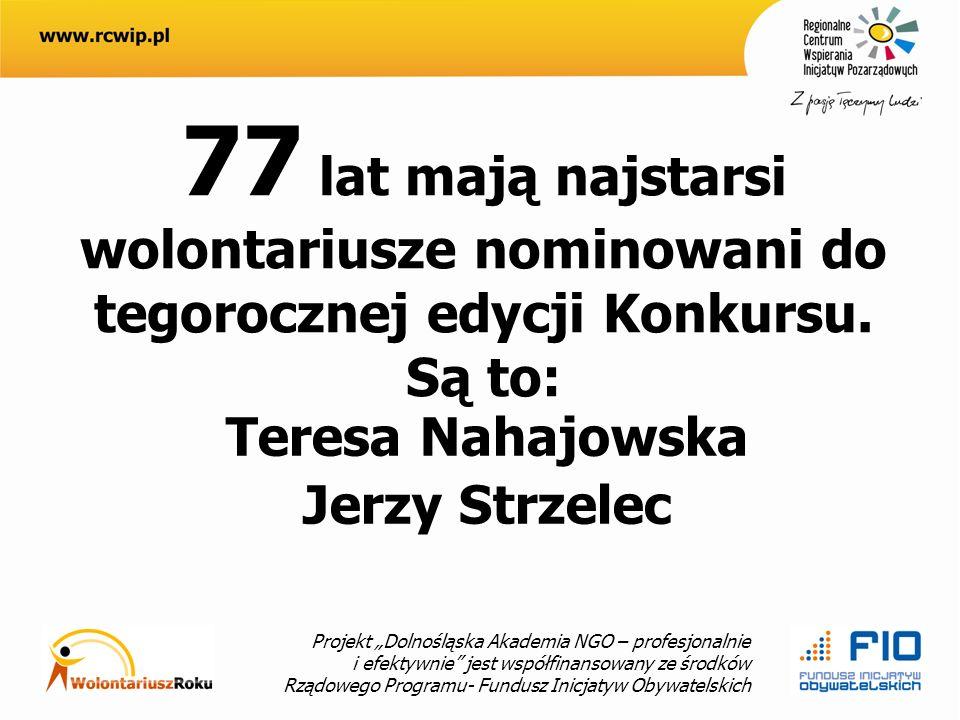 Projekt Dolnośląska Akademia NGO – profesjonalnie i efektywnie jest współfinansowany ze środków Rządowego Programu- Fundusz Inicjatyw Obywatelskich 77 lat mają najstarsi wolontariusze nominowani do tegorocznej edycji Konkursu.