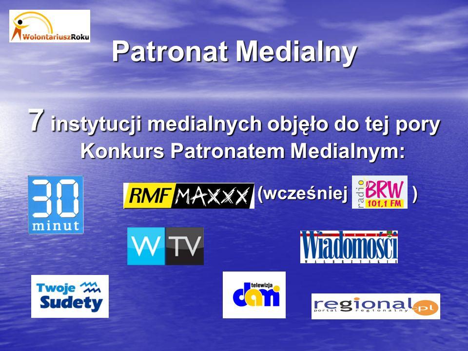 Patronat Medialny 7 instytucji medialnych objęło do tej pory Konkurs Patronatem Medialnym: (wcześniej)