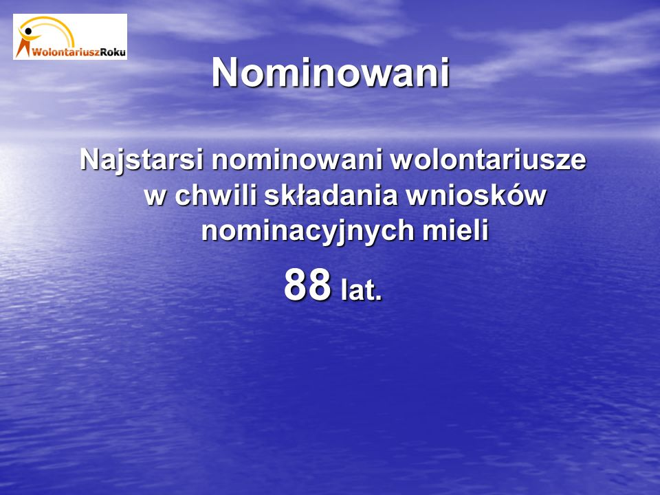 Nominowani Najstarsi nominowani wolontariusze w chwili składania wniosków nominacyjnych mieli 88 lat.