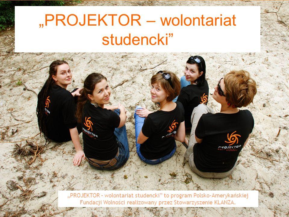 1 PROJEKTOR – wolontariat studencki PROJEKTOR – wolontariat studencki to program Polsko-Amerykańskiej Fundacji Wolności realizowany przez Stowarzyszenie KLANZA.