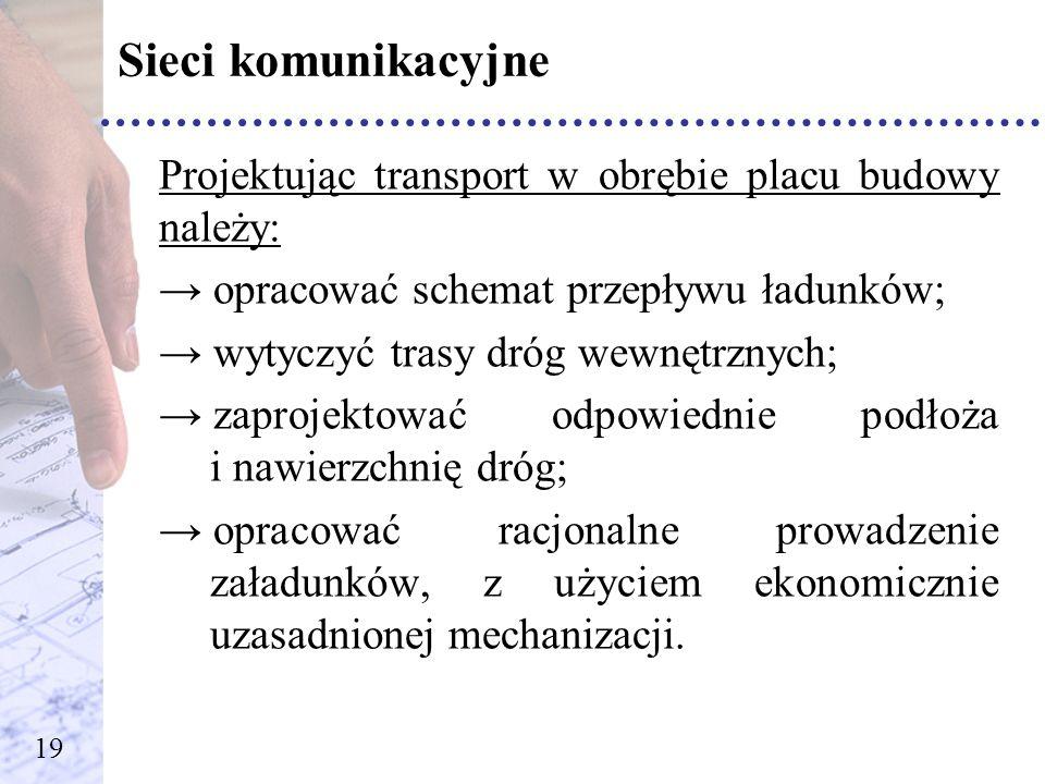 Sieci komunikacyjne Projektując transport w obrębie placu budowy należy: opracować schemat przepływu ładunków; wytyczyć trasy dróg wewnętrznych; zapro