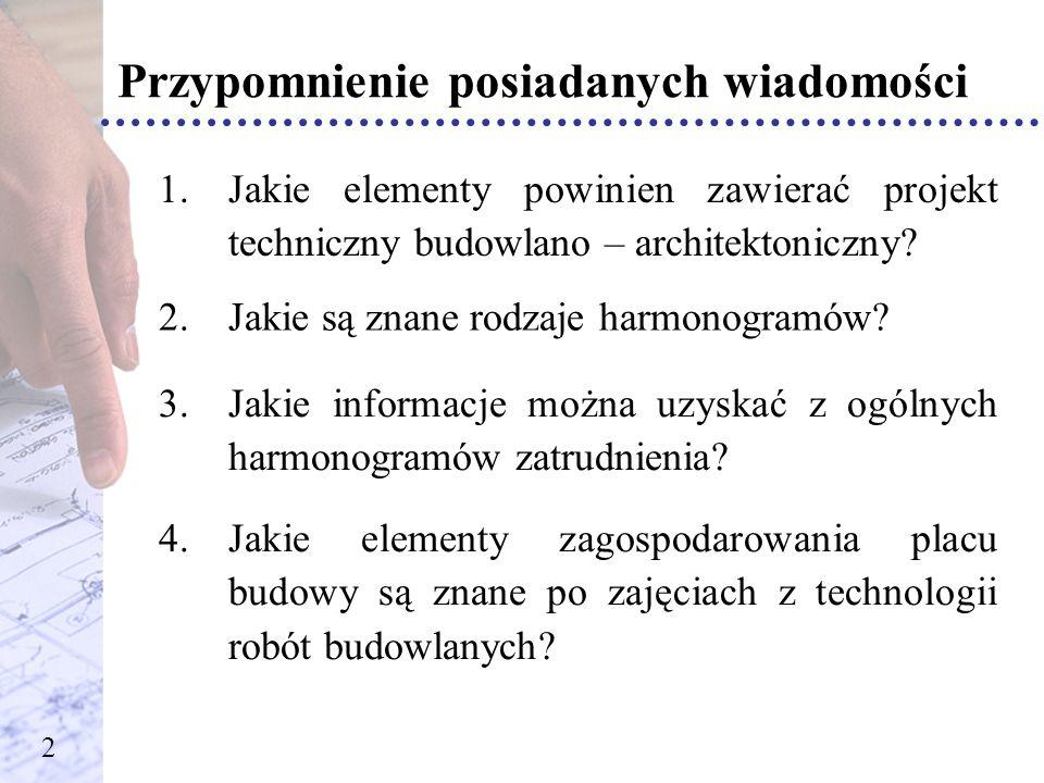 Zagospodarowanie placu budowy Temat zajęć tablicowych: