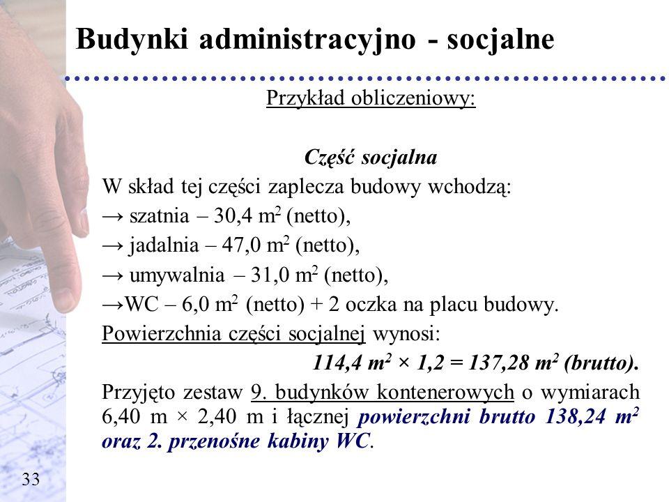 Budynki administracyjno - socjalne Przykład obliczeniowy: Część socjalna W skład tej części zaplecza budowy wchodzą: szatnia – 30,4 m 2 (netto), jadal