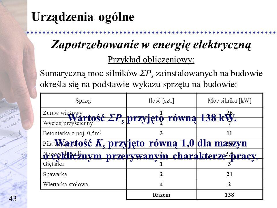 Urządzenia ogólne Zapotrzebowanie w energię elektryczną Przykład obliczeniowy: Sumaryczną moc silników ΣP s zainstalowanych na budowie określa się na