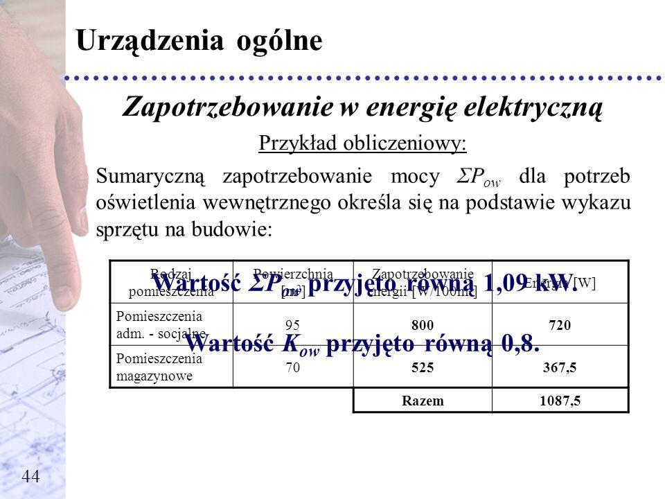 Urządzenia ogólne Zapotrzebowanie w energię elektryczną Przykład obliczeniowy: Sumaryczną zapotrzebowanie mocy ΣP ow dla potrzeb oświetlenia wewnętrzn