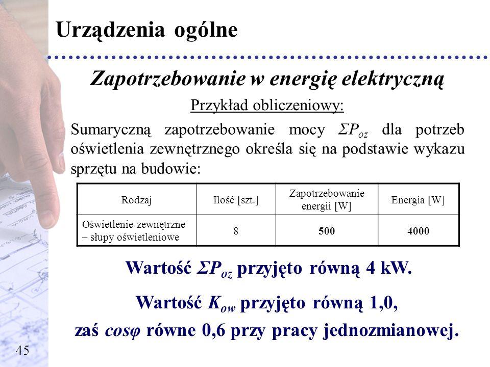 Urządzenia ogólne Zapotrzebowanie w energię elektryczną Przykład obliczeniowy: Sumaryczną zapotrzebowanie mocy ΣP oz dla potrzeb oświetlenia zewnętrzn