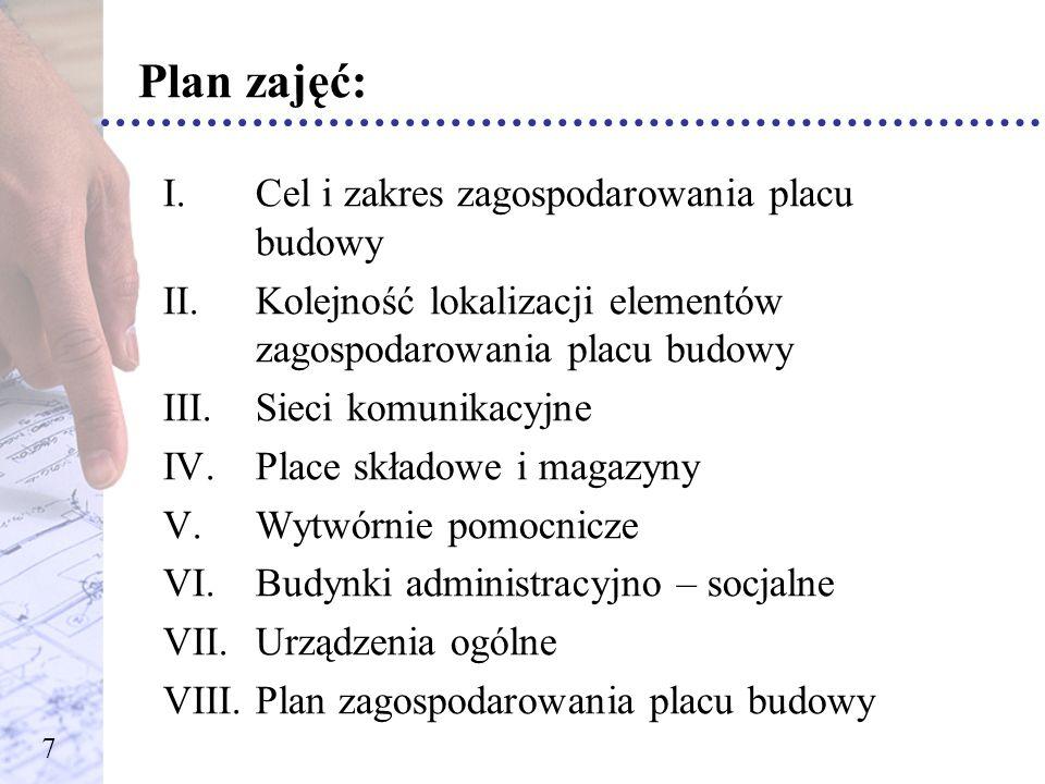 Plan zajęć: I.Cel i zakres zagospodarowania placu budowy II.Kolejność lokalizacji elementów zagospodarowania placu budowy III.Sieci komunikacyjne IV.P