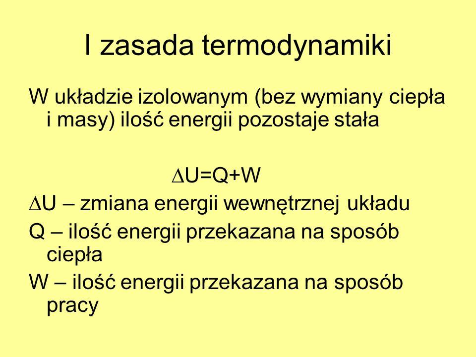I zasada termodynamiki W układzie izolowanym (bez wymiany ciepła i masy) ilość energii pozostaje stała U=Q+W U – zmiana energii wewnętrznej układu Q –