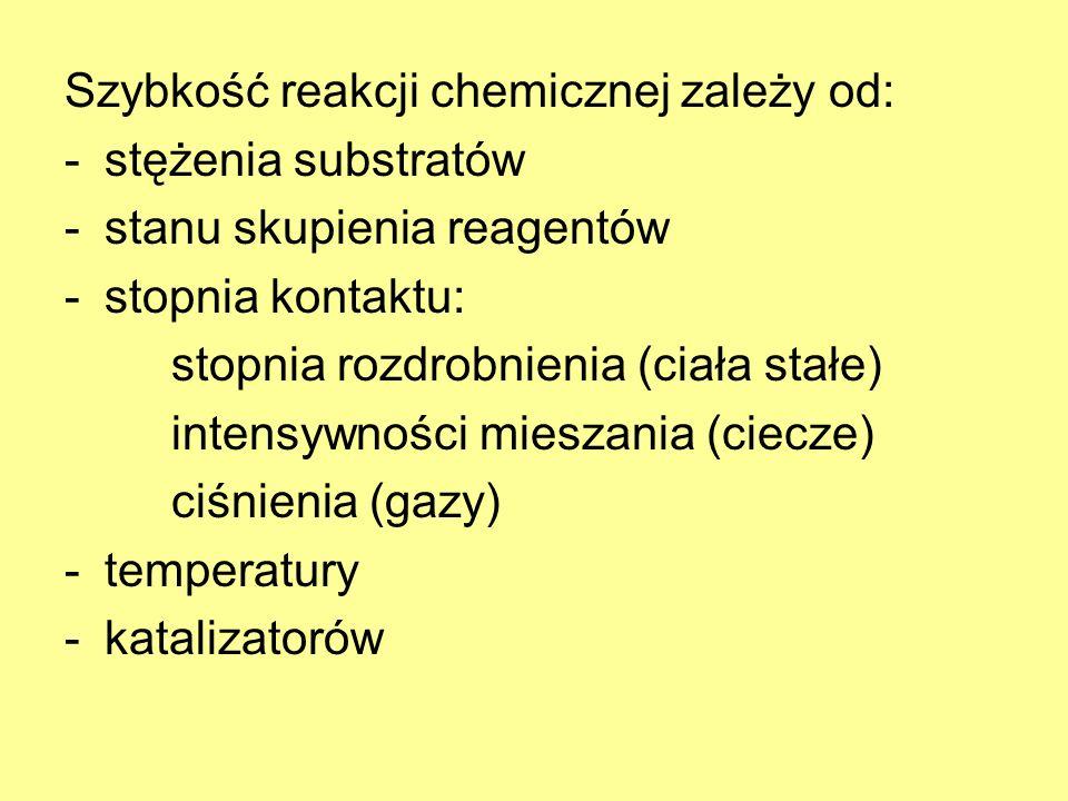 Szybkość reakcji chemicznej zależy od: -stężenia substratów -stanu skupienia reagentów -stopnia kontaktu: stopnia rozdrobnienia (ciała stałe) intensyw