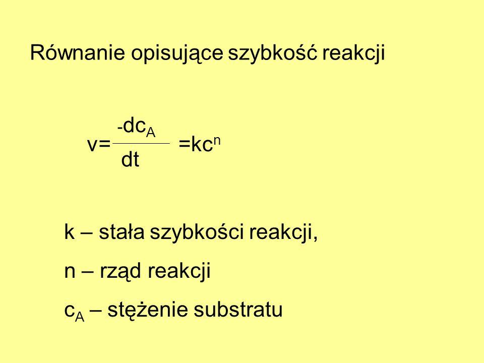 Równanie opisujące szybkość reakcji v= - dc A dt =kc n k – stała szybkości reakcji, n – rząd reakcji c A – stężenie substratu