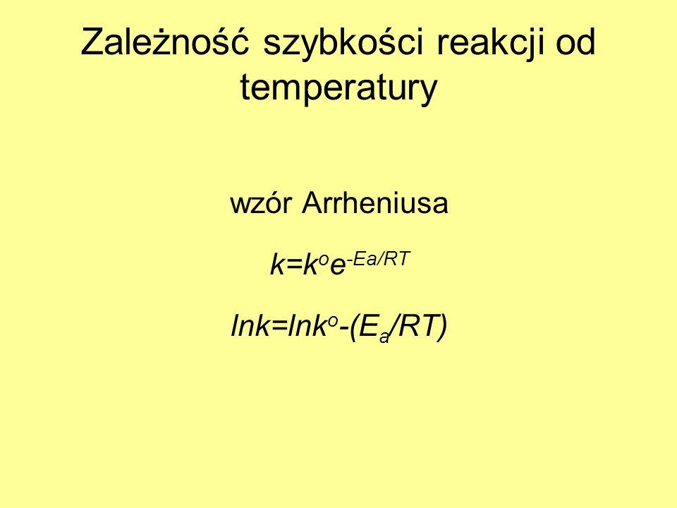 Zależność szybkości reakcji od temperatury wzór Arrheniusa k=k o e -Ea/RT lnk=lnk o -(E a /RT)