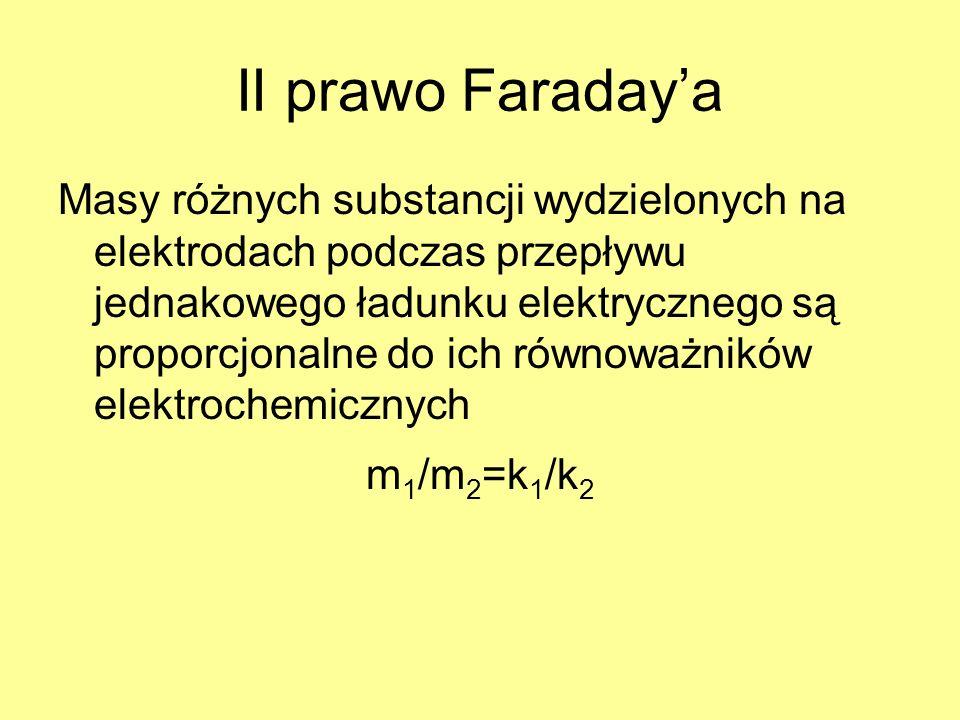 II prawo Faradaya Masy różnych substancji wydzielonych na elektrodach podczas przepływu jednakowego ładunku elektrycznego są proporcjonalne do ich rów