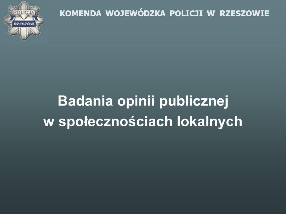 KOMENDA WOJEWÓDZKA POLICJI W RZESZOWIE Badania opinii publicznej w społecznościach lokalnych