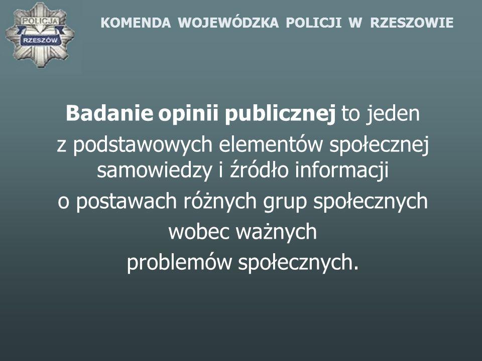 KOMENDA WOJEWÓDZKA POLICJI W RZESZOWIE Badanie opinii publicznej to jeden z podstawowych elementów społecznej samowiedzy i źródło informacji o postawa