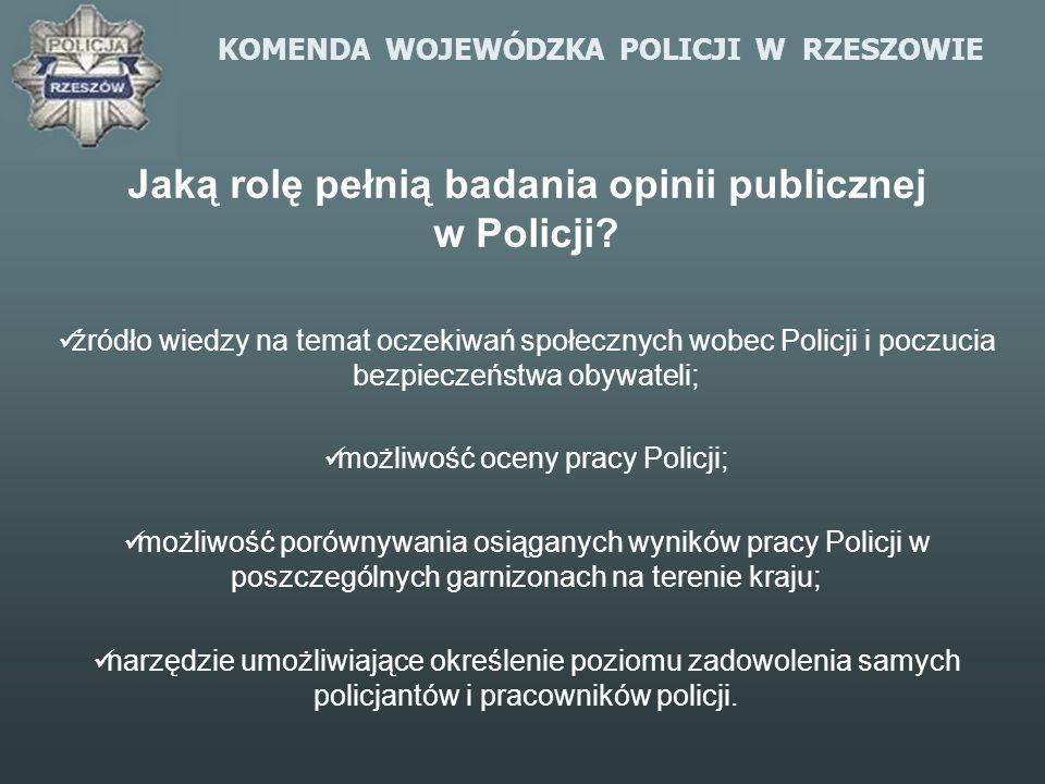 KOMENDA WOJEWÓDZKA POLICJI W RZESZOWIE Jaką rolę pełnią badania opinii publicznej w Policji? źródło wiedzy na temat oczekiwań społecznych wobec Policj