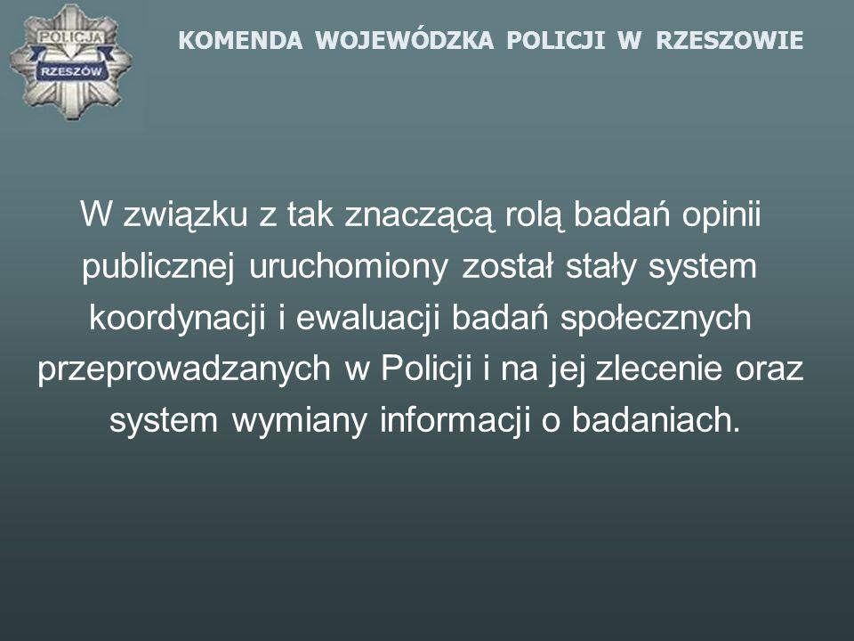 KOMENDA WOJEWÓDZKA POLICJI W RZESZOWIE W związku z tak znaczącą rolą badań opinii publicznej uruchomiony został stały system koordynacji i ewaluacji b