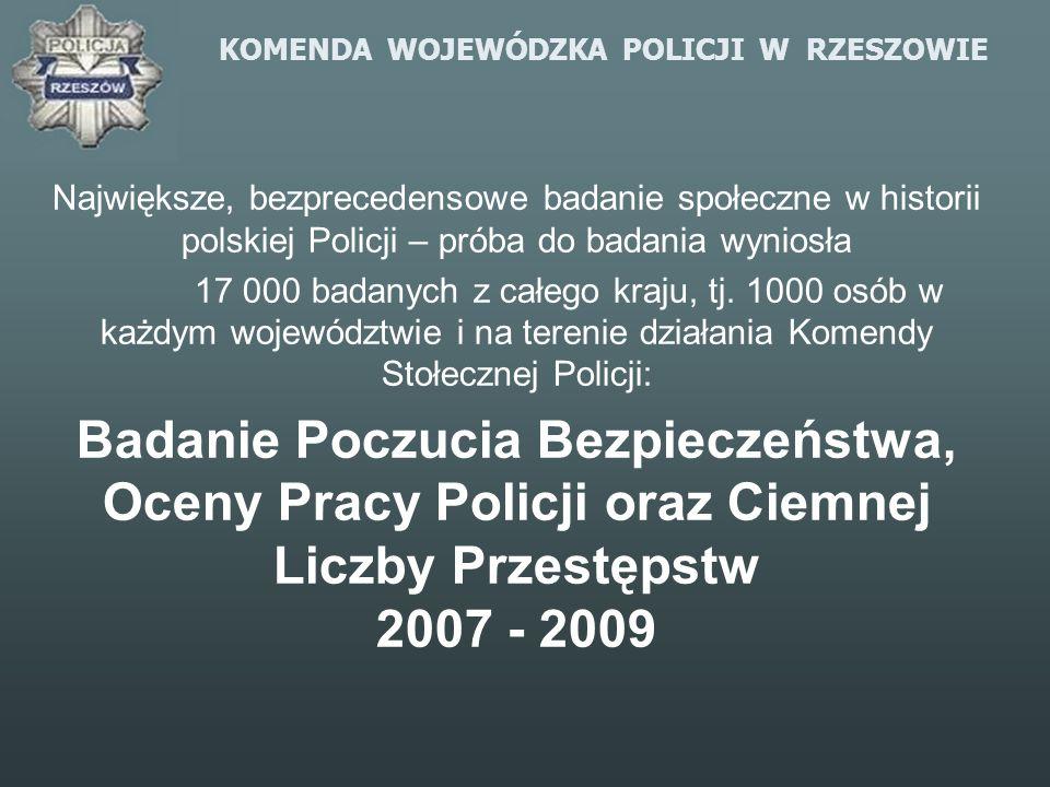 KOMENDA WOJEWÓDZKA POLICJI W RZESZOWIE Największe, bezprecedensowe badanie społeczne w historii polskiej Policji – próba do badania wyniosła 17 000 ba