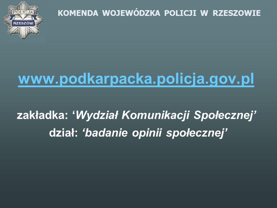 KOMENDA WOJEWÓDZKA POLICJI W RZESZOWIE www.podkarpacka.policja.gov.pl zakładka: Wydział Komunikacji Społecznej dział: badanie opinii społecznej