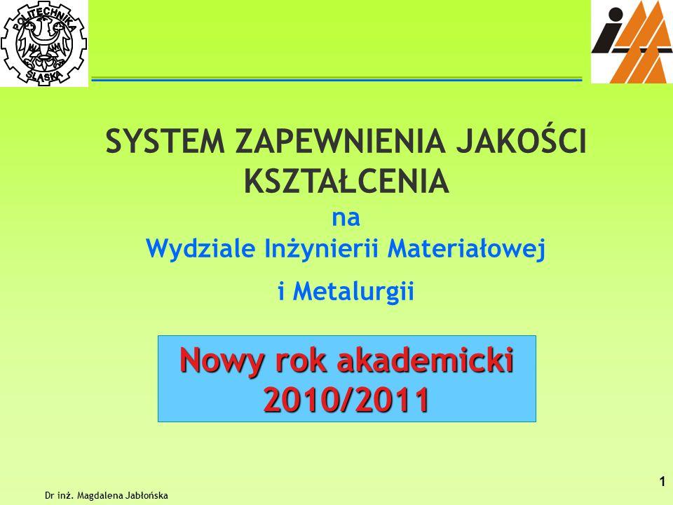 Dr inż. Magdalena Jabłońska 1 SYSTEM ZAPEWNIENIA JAKOŚCI KSZTAŁCENIA na Wydziale Inżynierii Materiałowej i Metalurgii Nowy rok akademicki 2010/2011