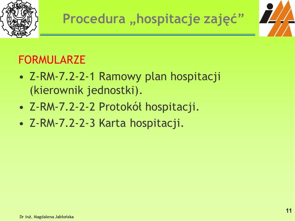 FORMULARZE Z-RM-7.2-2-1 Ramowy plan hospitacji (kierownik jednostki). Z-RM-7.2-2-2 Protokół hospitacji. Z-RM-7.2-2-3 Karta hospitacji. Dr inż. Magdale