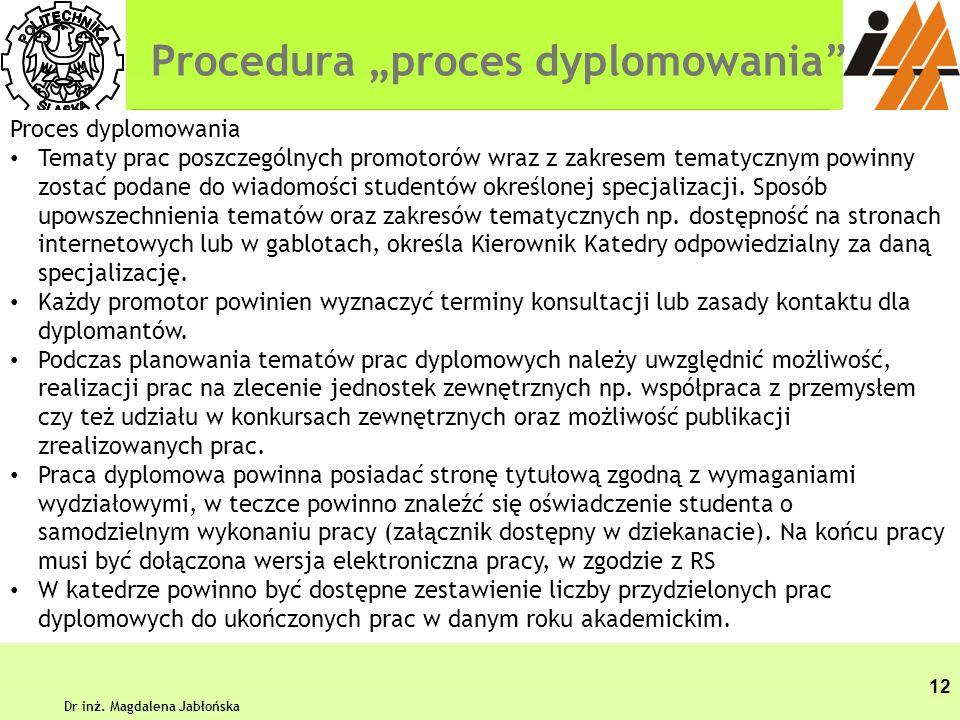 Procedura proces dyplomowania Dr inż. Magdalena Jabłońska 12 Proces dyplomowania Tematy prac poszczególnych promotorów wraz z zakresem tematycznym pow