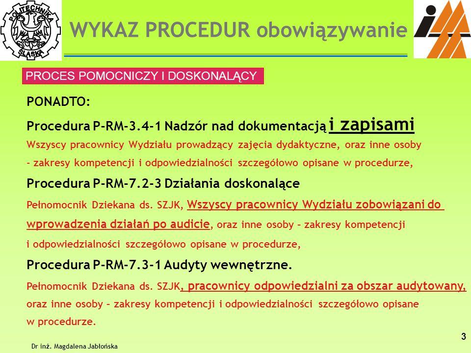 Dr inż. Magdalena Jabłońska 3 PONADTO: Procedura P-RM-3.4-1 Nadzór nad dokumentacją i zapisami Wszyscy pracownicy Wydziału prowadzący zajęcia dydaktyc