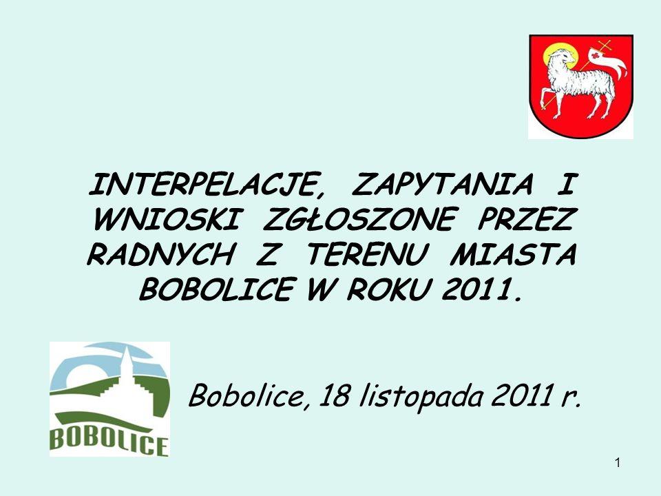 1 INTERPELACJE, ZAPYTANIA I WNIOSKI ZGŁOSZONE PRZEZ RADNYCH Z TERENU MIASTA BOBOLICE W ROKU 2011. Bobolice, 18 listopada 2011 r.