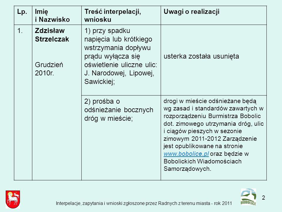 2 Lp.Imię i Nazwisko Treść interpelacji, wniosku Uwagi o realizacji 1.Zdzisław Strzelczak Grudzień 2010r. 1) przy spadku napięcia lub krótkiego wstrzy