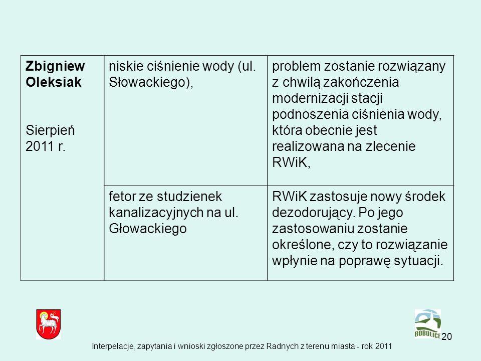 20 Zbigniew Oleksiak Sierpień 2011 r. niskie ciśnienie wody (ul. Słowackiego), problem zostanie rozwiązany z chwilą zakończenia modernizacji stacji po