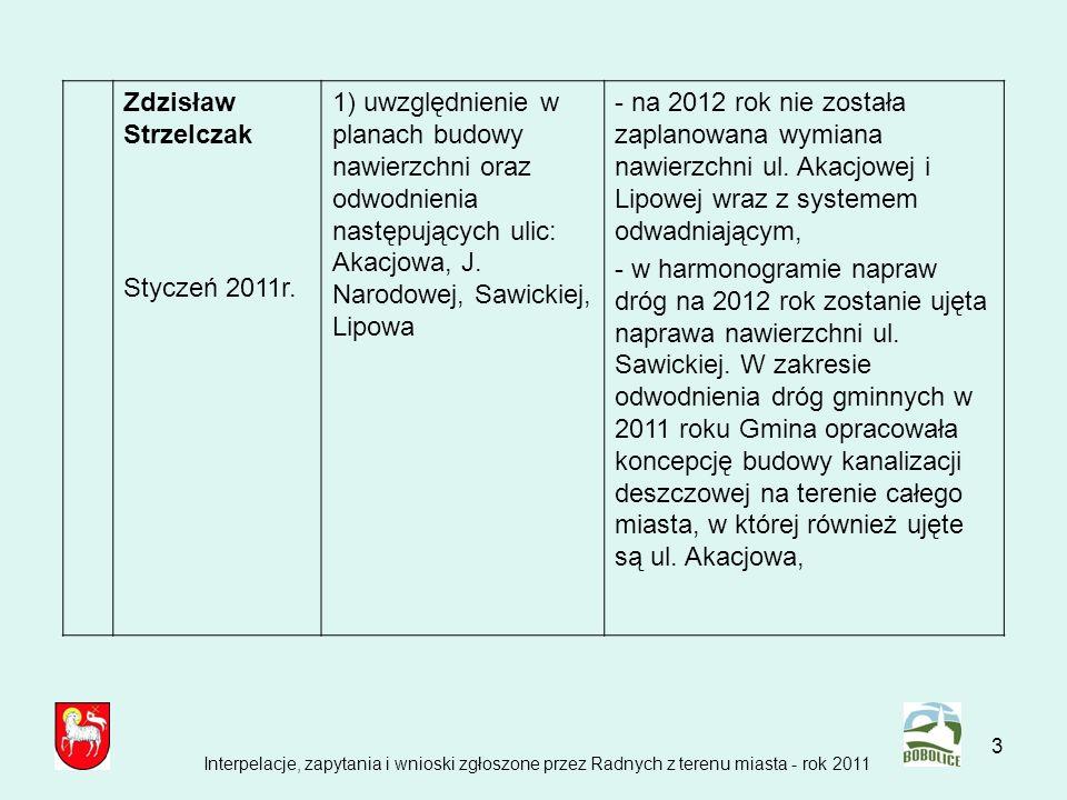 3 Zdzisław Strzelczak Styczeń 2011r. 1) uwzględnienie w planach budowy nawierzchni oraz odwodnienia następujących ulic: Akacjowa, J. Narodowej, Sawick