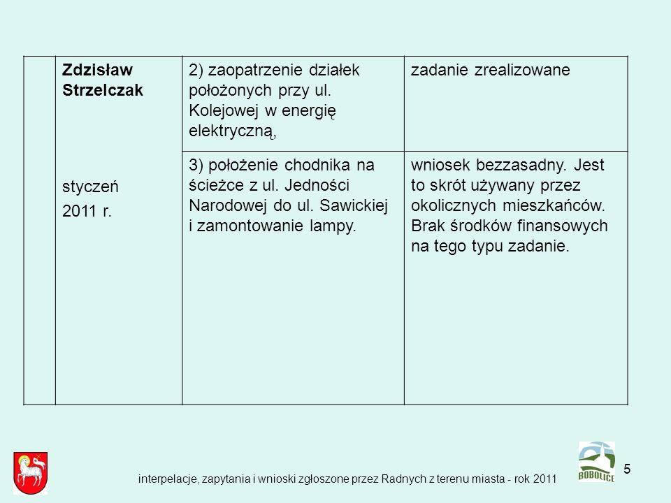 5 Zdzisław Strzelczak styczeń 2011 r. 2) zaopatrzenie działek położonych przy ul. Kolejowej w energię elektryczną, zadanie zrealizowane 3) położenie c