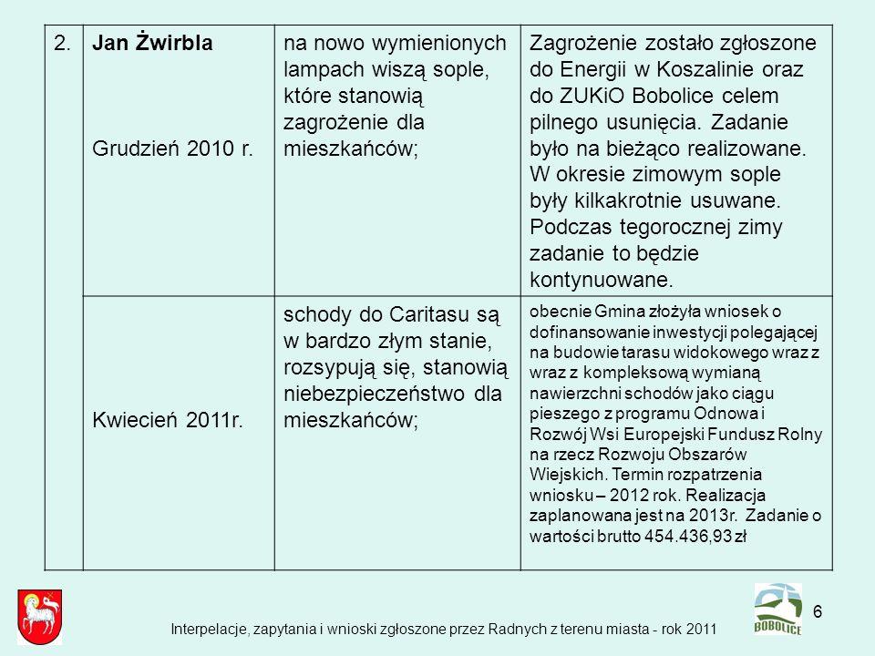6 2.Jan Żwirbla Grudzień 2010 r. na nowo wymienionych lampach wiszą sople, które stanowią zagrożenie dla mieszkańców; Zagrożenie zostało zgłoszone do