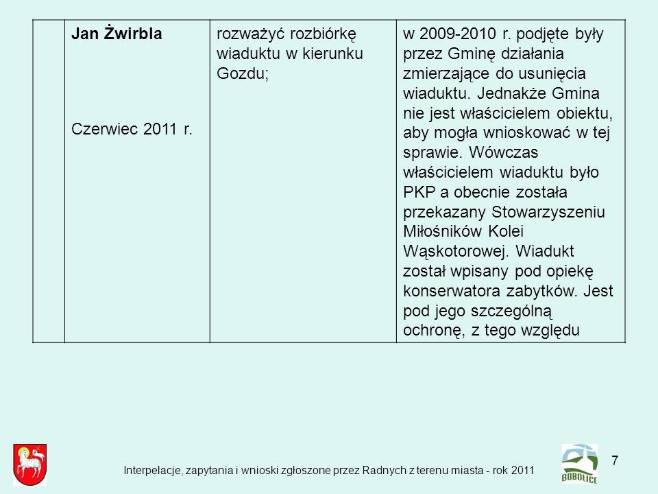 7 Jan Żwirbla Czerwiec 2011 r. rozważyć rozbiórkę wiaduktu w kierunku Gozdu; w 2009-2010 r. podjęte były przez Gminę działania zmierzające do usunięci