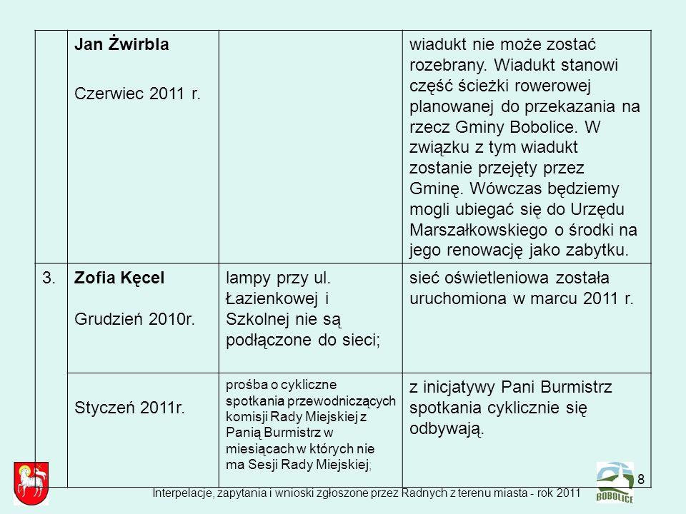 19 Zbigniew Oleksiak Sierpień 2011 r.ustawienie dodatkowej lampy przy zbiegu ul.