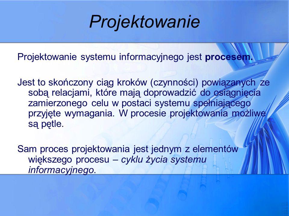 Projektowanie Projektowanie systemu informacyjnego jest procesem. Jest to skończony ciąg kroków (czynności) powiązanych ze sobą relacjami, które mają