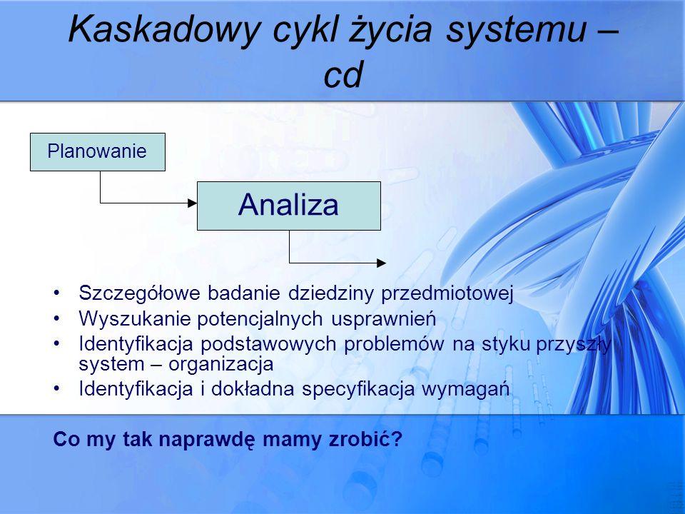 Kaskadowy cykl życia systemu – cd Szczegółowe badanie dziedziny przedmiotowej Wyszukanie potencjalnych usprawnień Identyfikacja podstawowych problemów