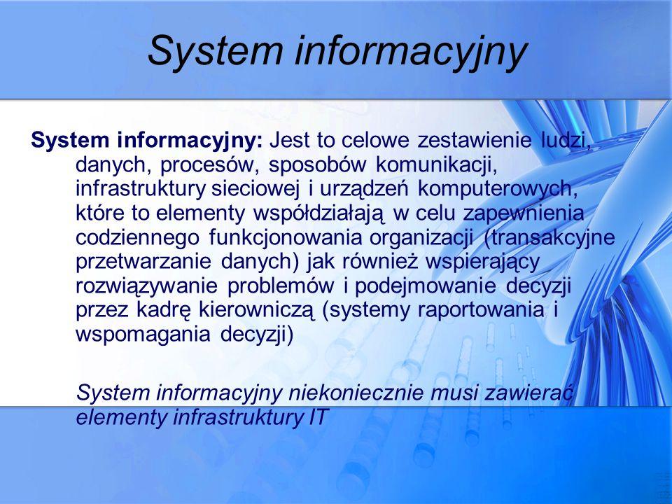 System informacyjny System informacyjny: Jest to celowe zestawienie ludzi, danych, procesów, sposobów komunikacji, infrastruktury sieciowej i urządzeń