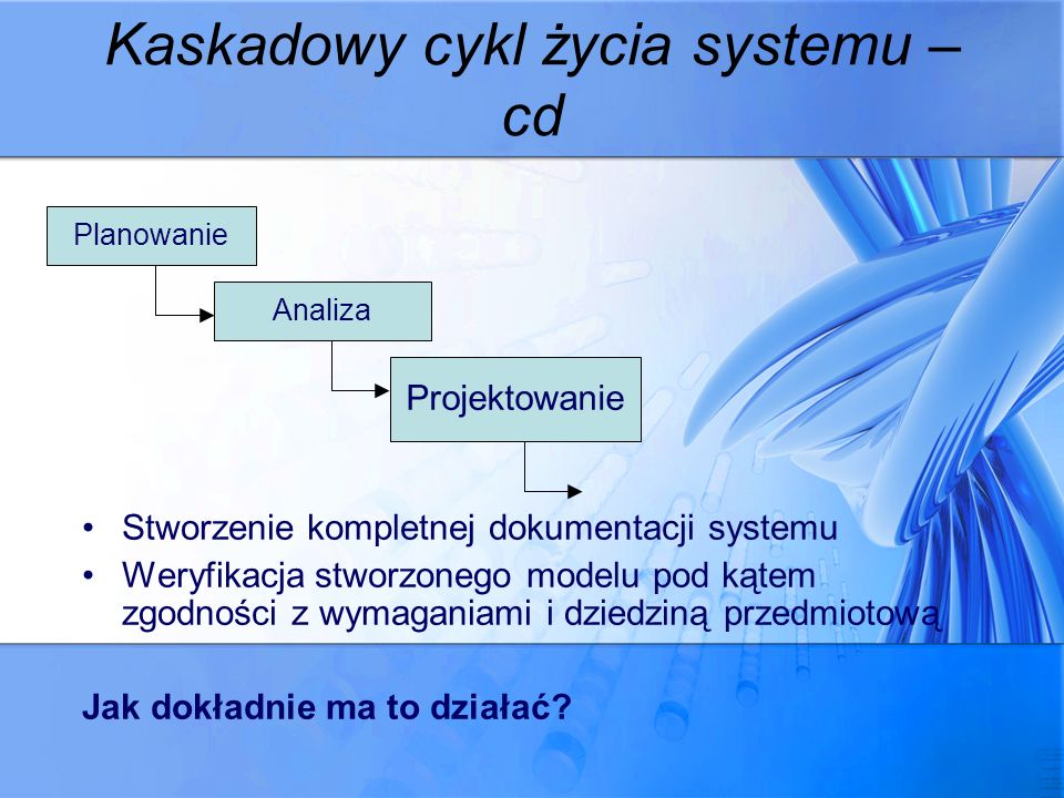 Kaskadowy cykl życia systemu – cd Stworzenie kompletnej dokumentacji systemu Weryfikacja stworzonego modelu pod kątem zgodności z wymaganiami i dziedz