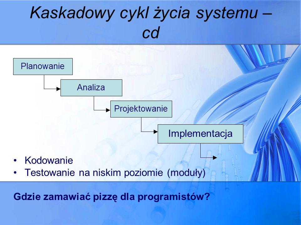 Kaskadowy cykl życia systemu – cd Kodowanie Testowanie na niskim poziomie (moduły) Gdzie zamawiać pizzę dla programistów? Planowanie Analiza Projektow